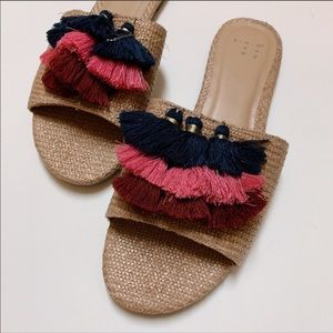 A New Day Ayana Raffia Tassle Slide Sandals